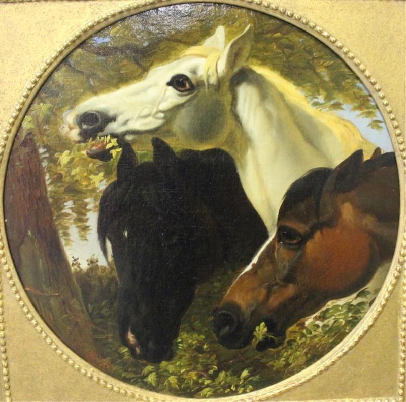 18: WOOLETT. 19th Century Oil on Board of Three Horses