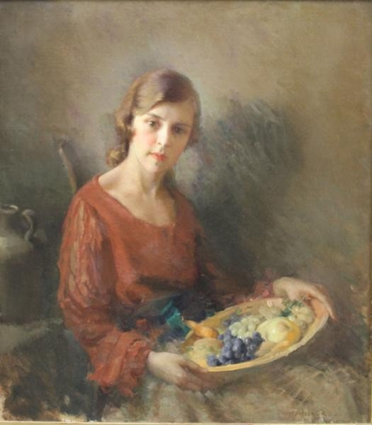 "19: SMITH, Gladys Nelson. O/C ""Model with Fruit."""