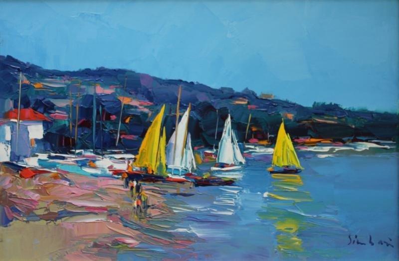 "20: SIMBARI, Nicola. Oil on Canvas ""Cote D'Azur."""