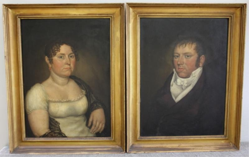 22: Pair of Early 19th C. American Folk Art Portraits