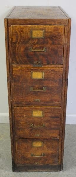 100 vintage oak 4 drawer file cabinet rh liveauctioneers com Oak 4 Drawer Legal Size File Cabinet Wood 3 Drawer Oak File Cabinets