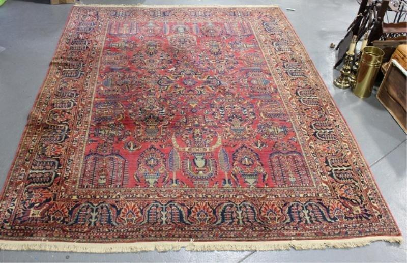 148A: Antique Handmade Estate Fresh Sarouk Carpet.