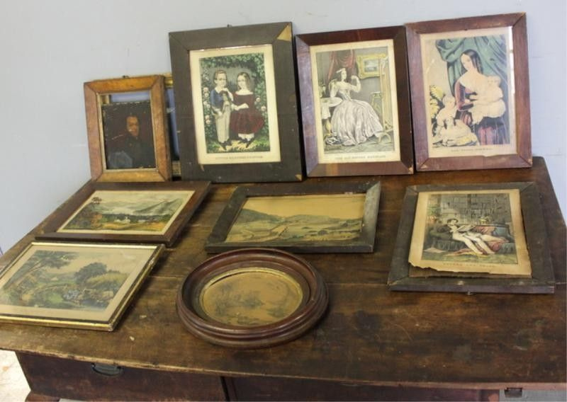 140: Currier and Ives Small Folio Lot. 9 Piece Lot.