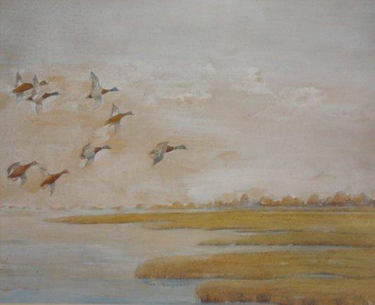 9A: BENSON, F.W., After. Watercolor of Ducks in Flight