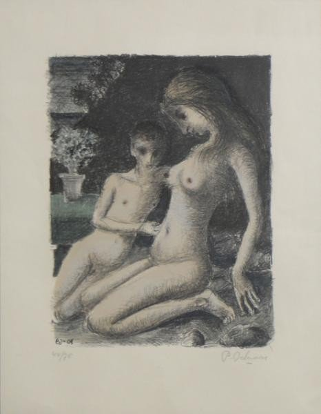 2: DELVAUX, Paul. Lithograph of 2 Nudes.