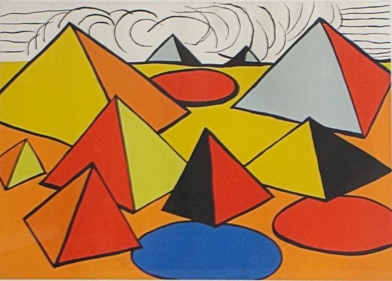 """4: CALDER, Alexander. Lithograph """"Pyramids."""""""