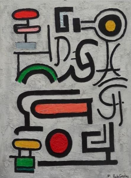 """7: CORVINO, Paolo. Fresco on Canvas """"Hieroglyphics."""""""