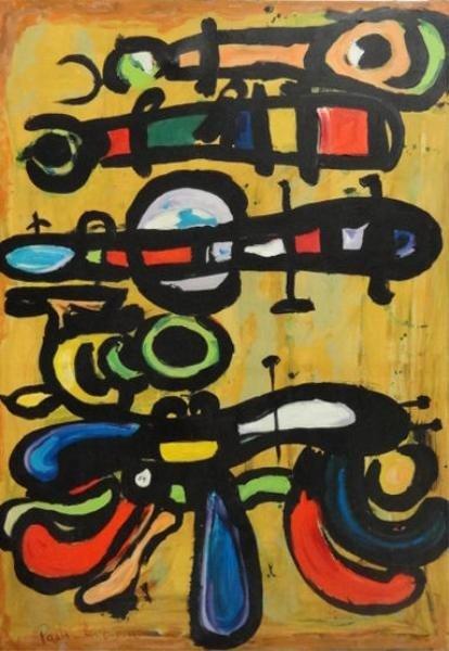 "9: CORVINO, Paolo. Oil on Canvas ""Caterpillars &"
