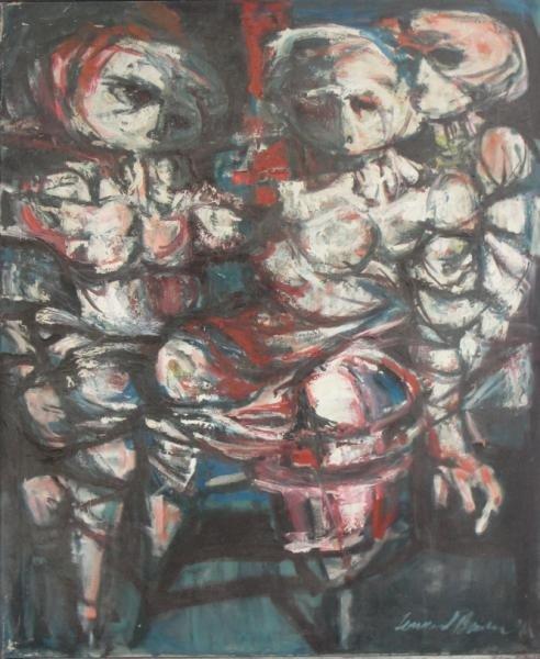 "10: BESSER, Leonard. 1961 Oil on Canvas ""Figure"