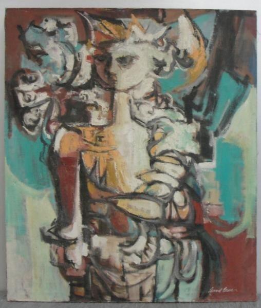 13: BESSER, Leonard. Oil on Canvas Modernist Figure.