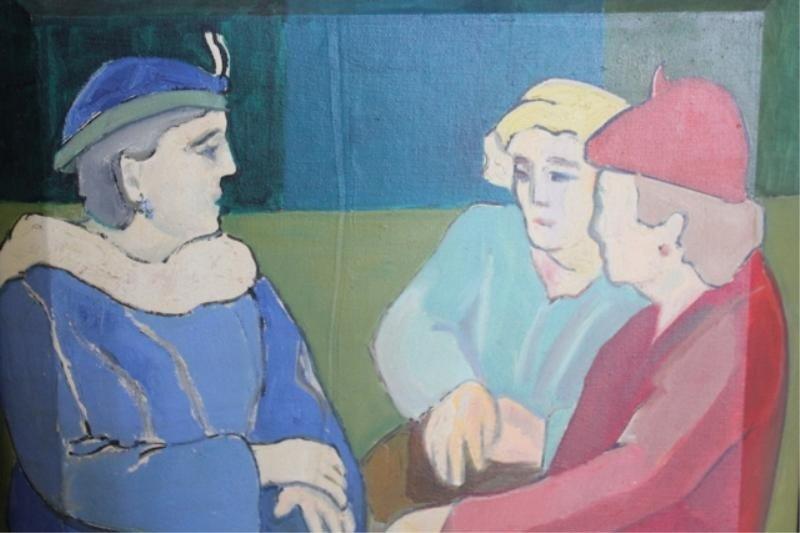 "16: BORNE, Mortimer. 1971 O/C ""Subway (3 Figures)."""