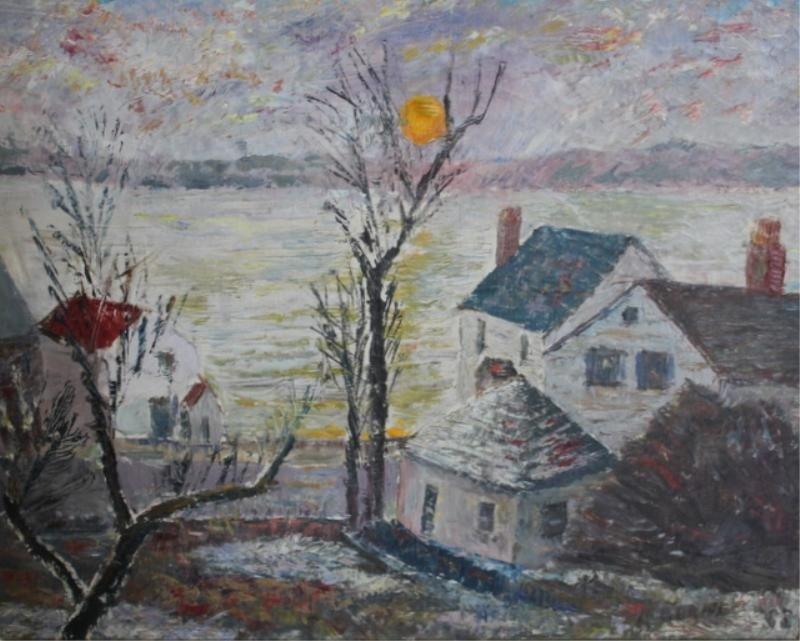 """17: BORNE, Mortimer. Oil on Canvas """"Sunrise Nyack."""""""