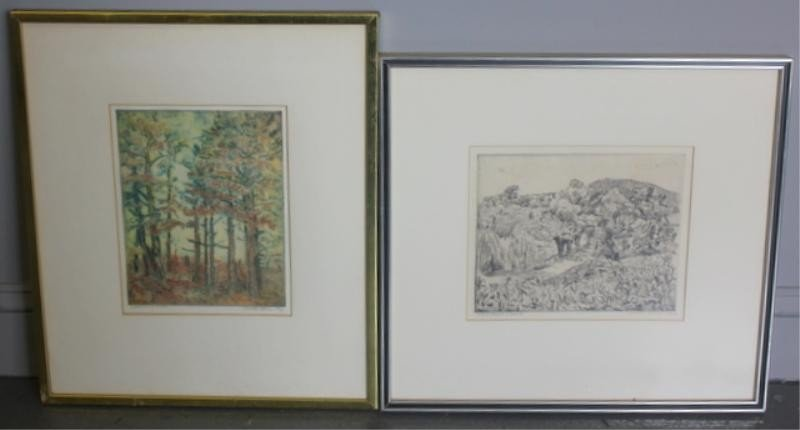 18: BORNE, Mortimer. 2 Pencil Signed Etchings.