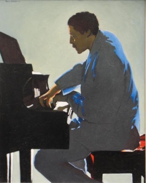 "19: JOHNSON, Oliver. 1984 Oil on Masonite ""Piano Man."""