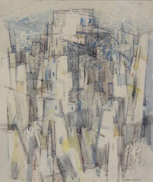 20: DODD, Lamar. 1957 Watercolor. Modernist Cityscape.