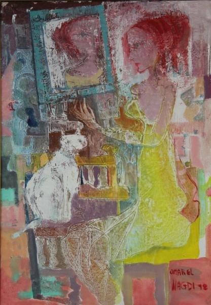 "30: EL-NAGDI, Omar. Oil on Canvas ""Le Chat Blanc."""