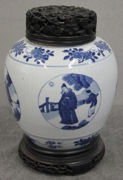 368: Antique Asian Ginger Jar with Carved Hardwood Top