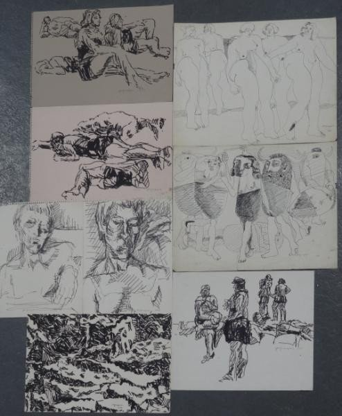 1: GRIPPE, Peter. 8 Original Works on Paper.