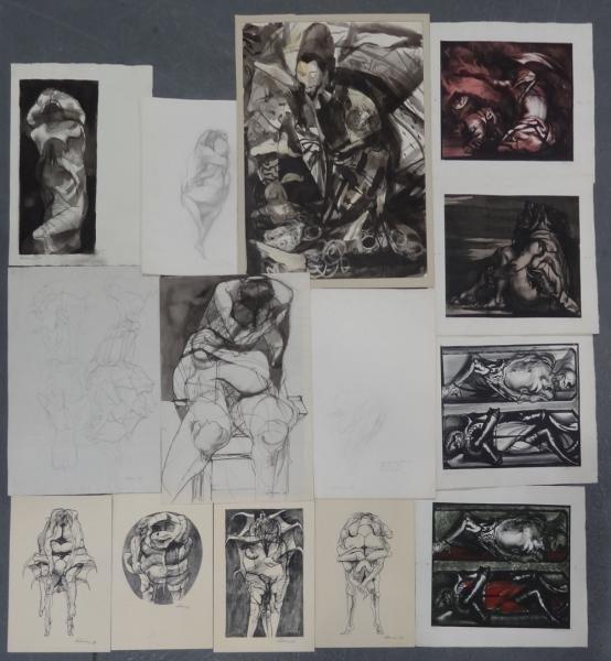 6: LEBRUN, Rico. 13 Works on Paper: 6 Original Works,