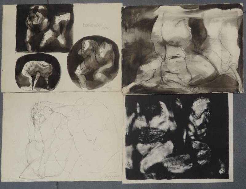 7: LEBRUN, Rico. 4 Works on Paper: 3 Originals, 1