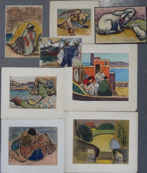 12: CONSTANTINE, George. 8 Works - Pastels & W/C's.