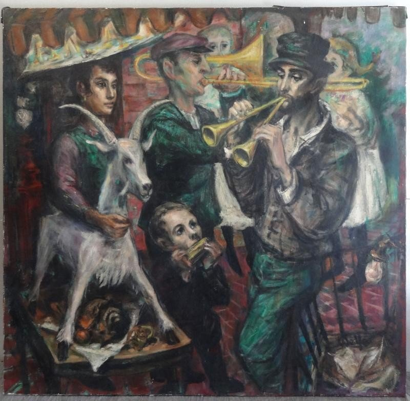 14: WOLFE. Oil on Canvas. Street Musicians.