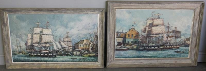 16: MAFFEI. Two Nautical Oil Paintings.