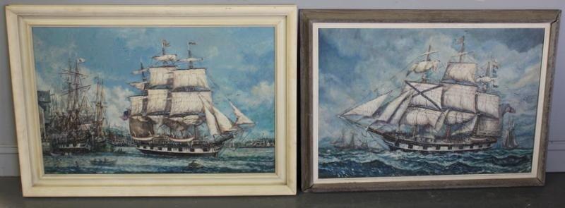 17: MAFFEI. Two Nautical Oil on Cavas.