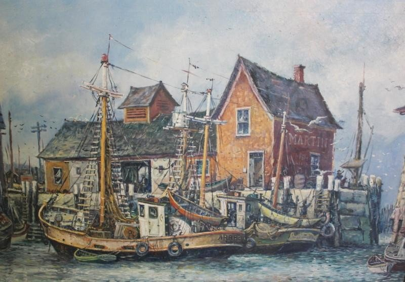 18: MAFFEI. Nautical Oil on Canvas of Boats in Harbor.