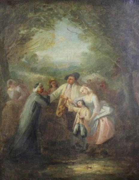 21: Oil on Canvas of Figures in the Woods in the Style