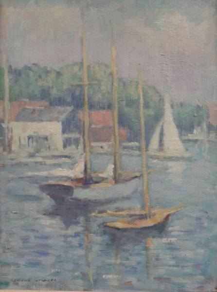 33: GREACEN, Edmund. Oil/Canvasboard Boats in Harbor.