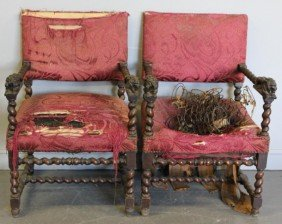 Pair Of Victorian Arm Chairs With Lion Carvings.