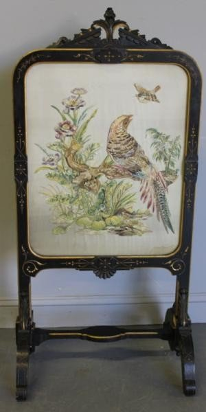 73: Antique Embroidered Fire Screen.