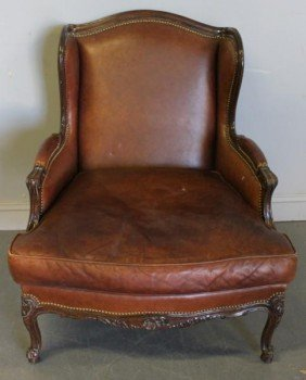 Louis XV Style Leather Upholstered Wing Back
