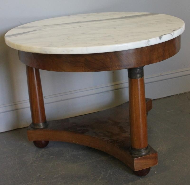 77: Empire Style Marble Top Coffee Table.