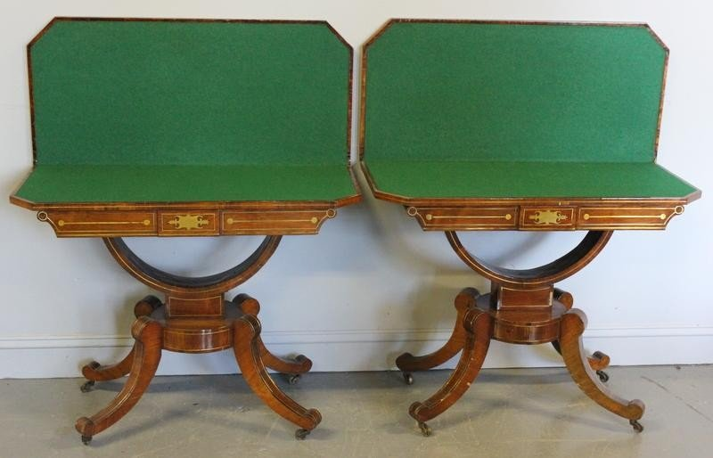 79: Pair of Regency Rosewood and Brass Inlaid Flip