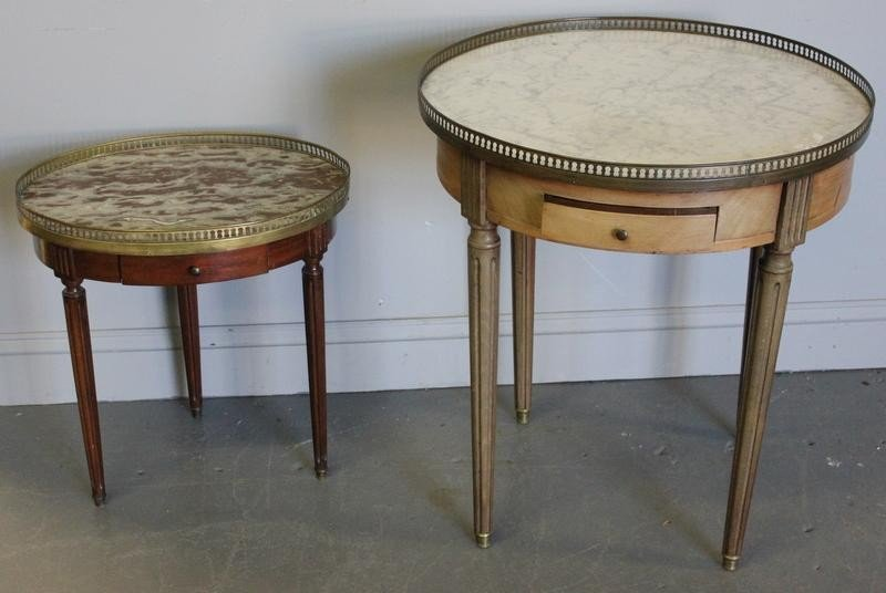81: 2 Marbletop Bouillotte Tables.