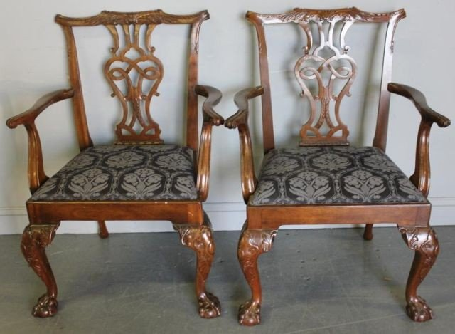 87: Pair of Signed Baker Mahogany Chippendale Style