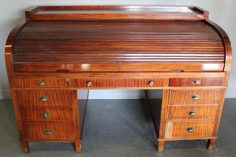 89: Mahogany Double Pedestal C - Roll Top Desk.