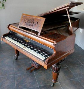 JOHN BROADWOOD & SONS Burl Walnut Grand Piano.
