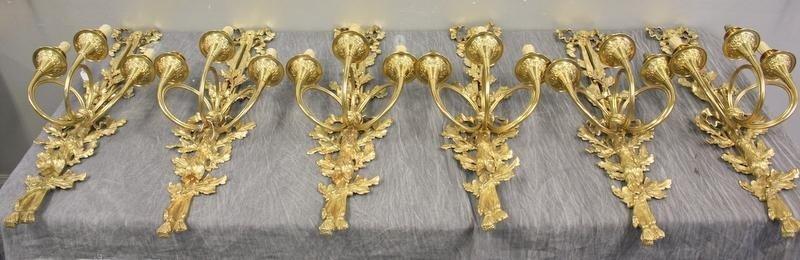 140: 6 Dore Bronze Sconces.