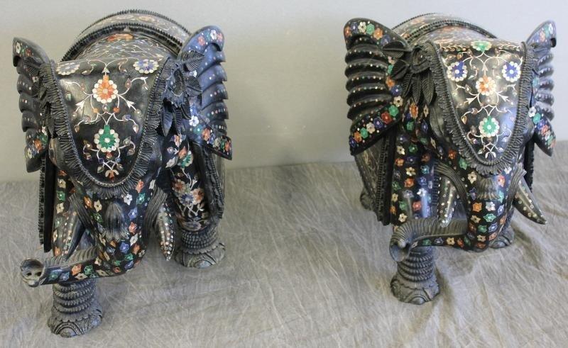 142: Pair of Vintage Pietra Dura / Marble Elephants.