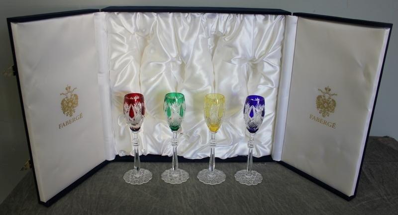 145: Faberge. Presentation Box of 4 Glasses.