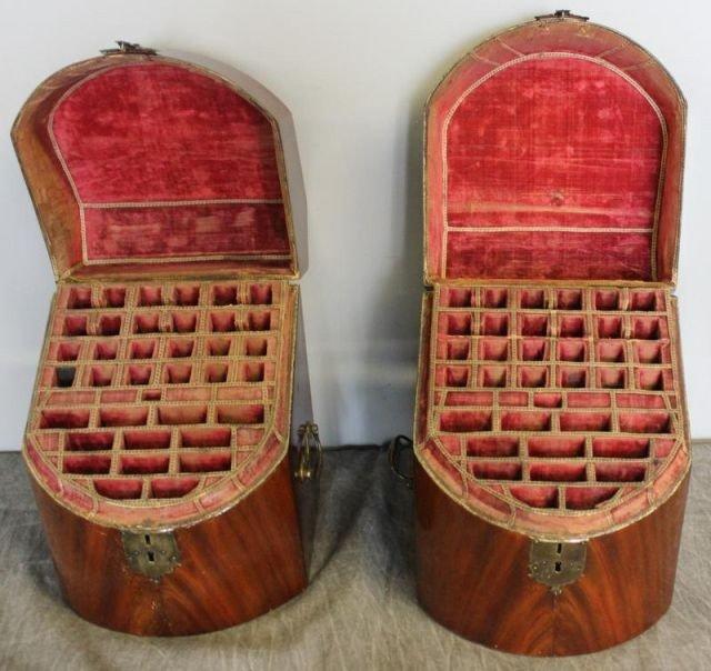147: Pair of Antique Mahogany Slant Top Knife Boxes.