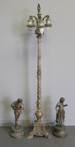 149: Pair of Metal Figures together with Silvered Floor
