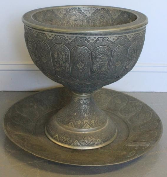 151: Large Middle Eastern Engraved Fruitbowl and