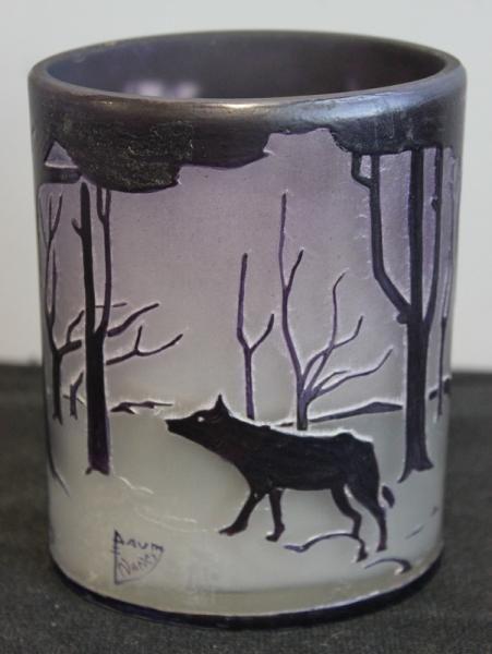 154: Unusual Daum Nancy Cabinet Vase with Landscape