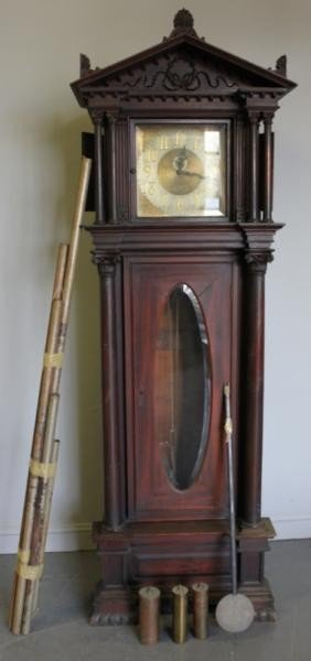 155: Mahogany Tall Case Clock - In as Found Condition.