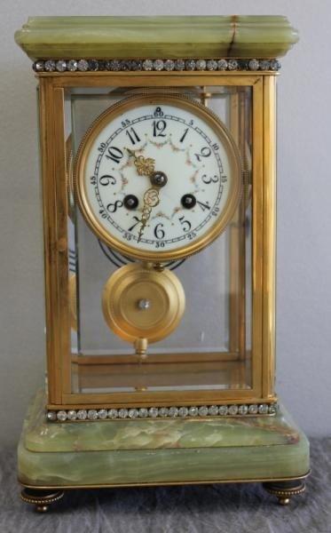 156: Alabaster and Crystal Regulator Clock.