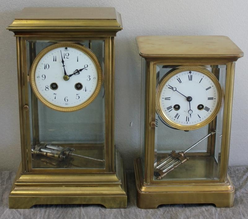 159: Two Crystal and Brass Regulator Clocks with